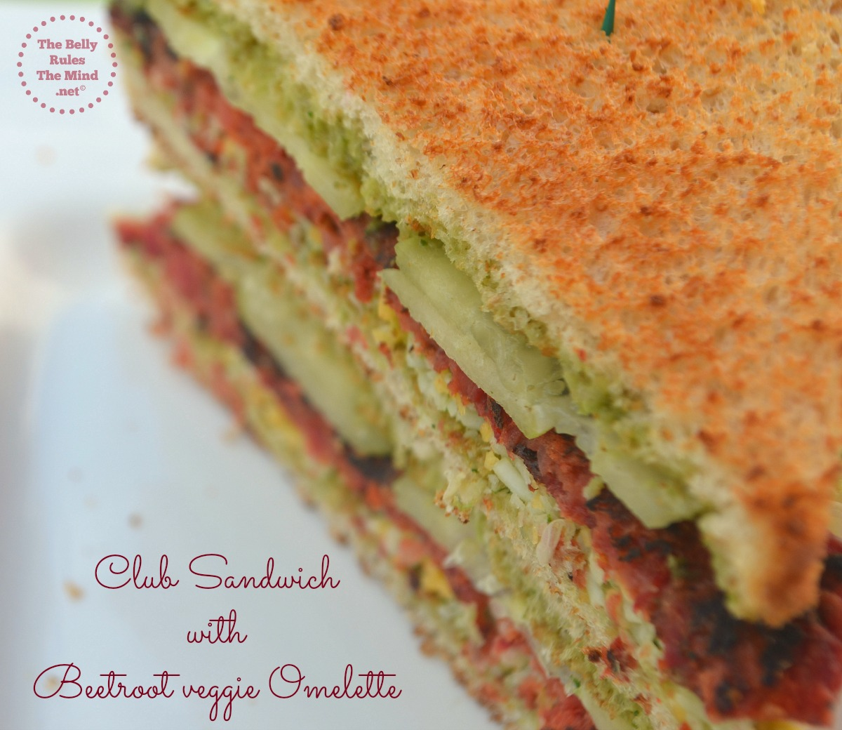 Club Sandwich with Beetroot veggie Omelette