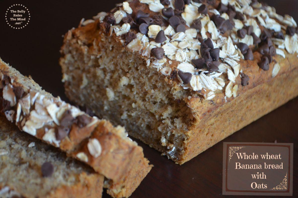 Healthy Whole Wheat banana bread with oats