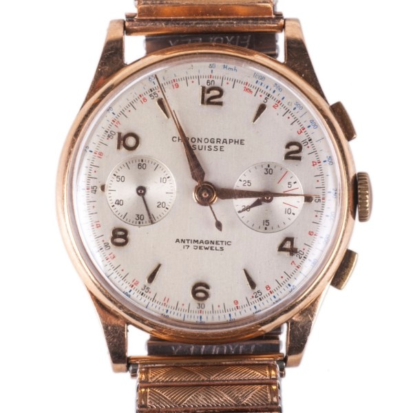 Chronograph Suisse 18K Gold Men's Wrist Watch