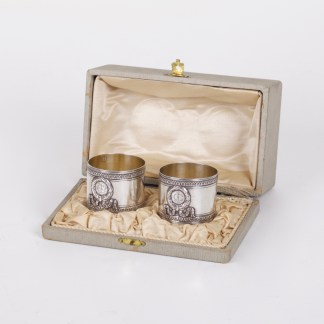 Pair Of Antique Napkin Silver Rings in Original Box