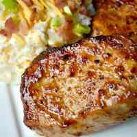 Budget Friendly Meals: Barbecue Pork Chops with Loaded Baked Potato Salad