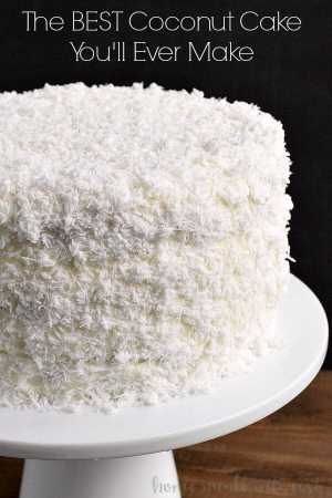 THE BEST COCONUT CAKE -- uses 2 secret ingredients + fresh coconut to create the most moist, and super delicious Coconut Cake that you'll ever make! | Featured on www.thebestblogrecipes.com