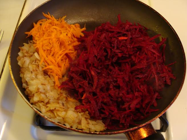 beets, carrots and tomatoes saute