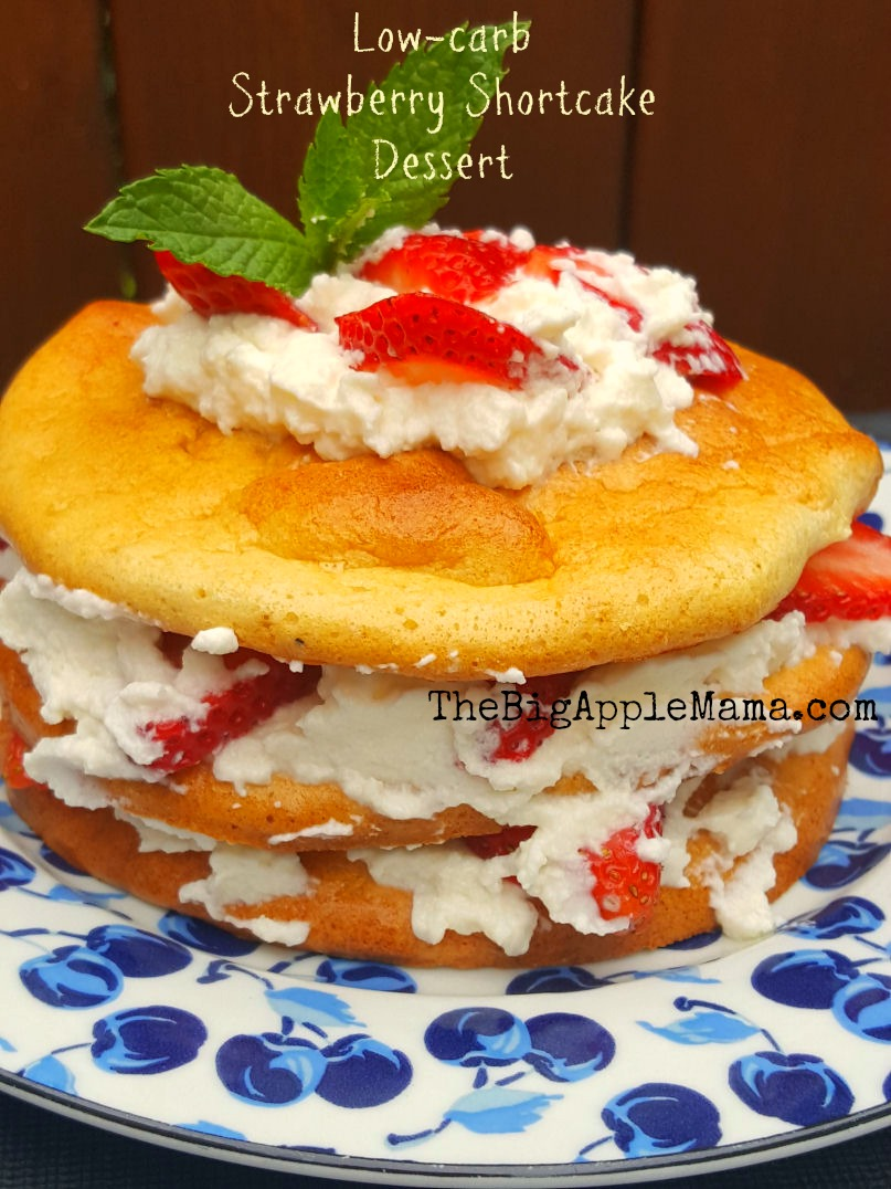 keto strawberry shortcake dessert on cloud bread