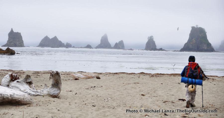 Backpacking near Strawberry Point on Washington's Southern Olympic Coast.