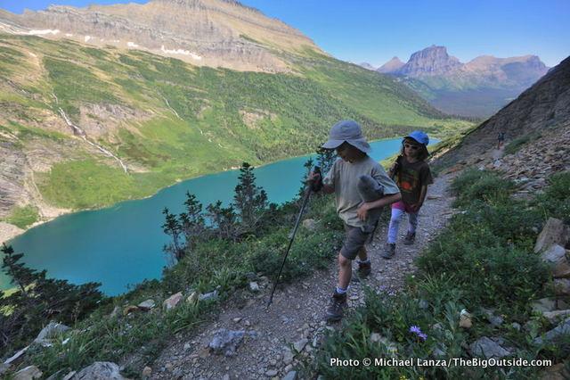 My kids on the Gunsight Pass Trail, Glacier National Park.