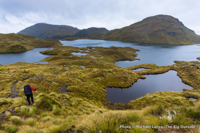 Jeff Wilhelm trekking the Dusky Track in New Zealand's Fiordland National Park.
