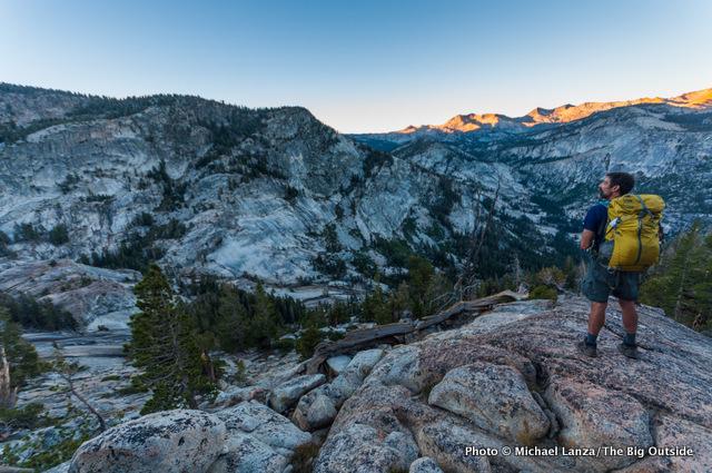 Mark Fenton enjoying the dawn view above Lyell Fork Canyon of the Merced River, Yosemite National Park.
