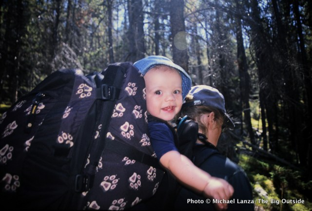 Nate, at 11 months old, on one of his first backpacking trips in Wyoming's Bighorn Mountains.