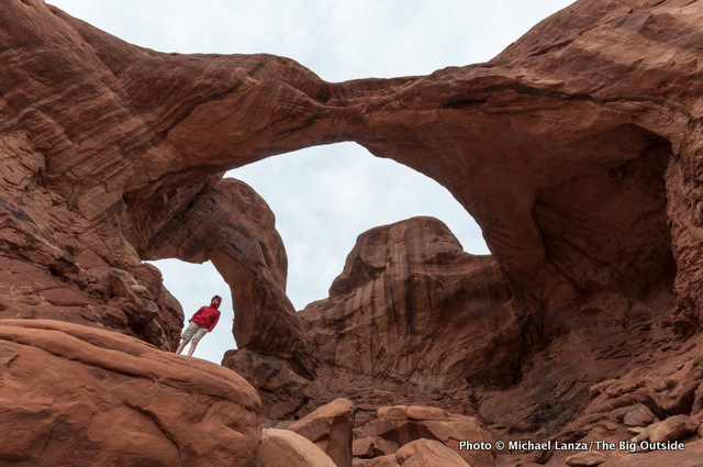 My son, Nate, underneath Double Arch in the Windows Section of Arches National Park.