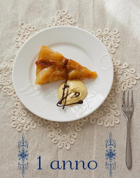 tarte tatin con mousse di zabaione al Vin santo