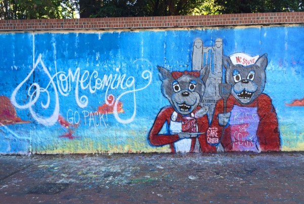 Image from the 2015 Homecoming on the Free Expression Tunnel on the Campus of N.C. State University. Image via the N..C. State Alumni Association Facebook Page