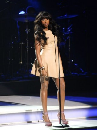 Jennifer Hudson in Chloe Whipstitch leather dress.