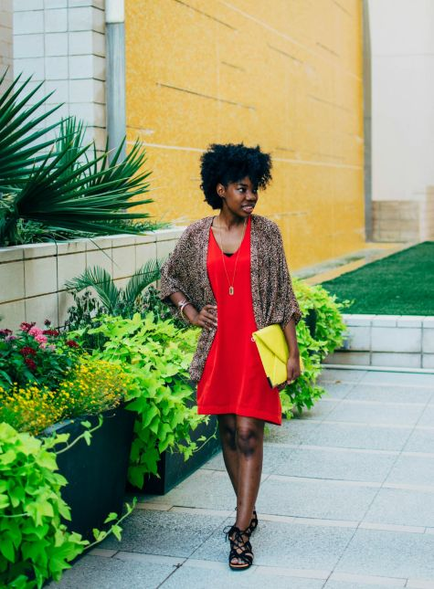 shift dress, leopard kimono, clutch, pop of color