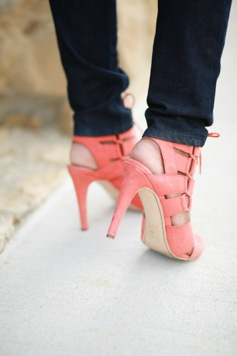 heels, steve madden, shoes, coral, pastel, lace up heels,