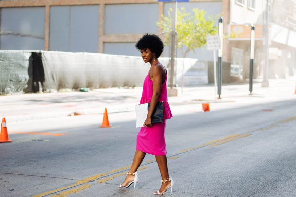 pink dress, new york fashion week, fashion week, nyc, NYFW, giuseppe zanotti heels