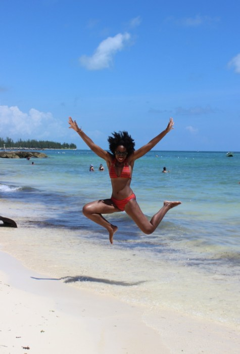 bahamas, beach, blogger beach, jump, bathing suit, beach