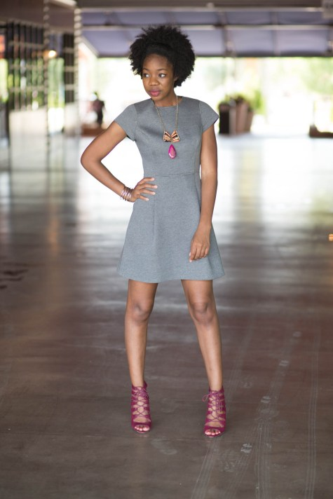 basics, grey, burgundy, grey basic dress, blogger style, natural girl style, natural style, natural hair blogger, lace up heels