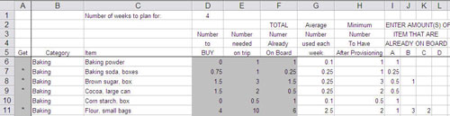 Screenshot of Provisioning Spreadsheet