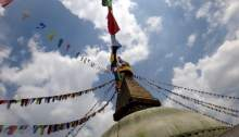 Brightly colored prayer flags