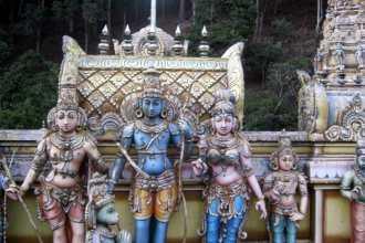(L-R) Lakshman, Rama and Sita with Hanuman (kneeling)
