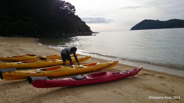Richard setting up the kayaks- Kayaking in the Abel Tasman National Park