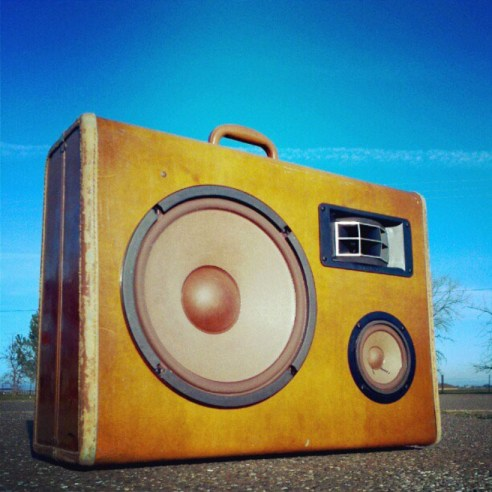 Cowboy boomcase boombox leather rugged vintage suitcase