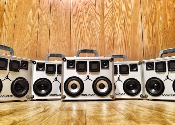 Michael Jordan BoomCase BoomBox BoomCase Custom JumpMan23 23 Chicago Bulls MJ Greatest Birthday Bday Present New Orleans all star weekend  BoomCase allstar MVP Carmelo Anthony Chris Paul Blake Griffin Jeff Johnson Air Jordan Jordan Brand Cement Print Leather Shoes Kicks