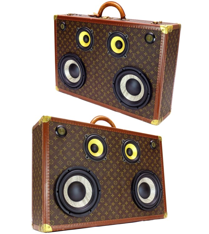louis vuitton boomcase boombox trunk suitcase vintage custom speaker system sound home decor design