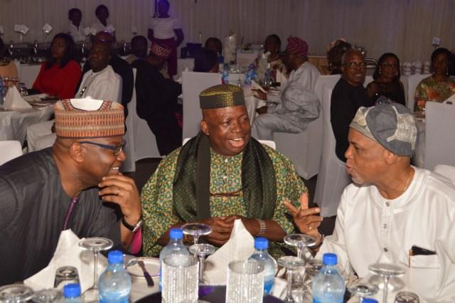 Mr. John Momoh, Dele Fajemirokun with Biodun Shobanjo (celebrant)