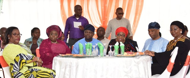 Lagos State Governor, Mr. Akinwunmi Ambode (3rd left); Chief Judge of Lagos State, Justice Olufunmilayo Atilade; Deputy Governor, Dr. (Mrs.) Oluranti Adebule; Wife of Lagos State Governor, Mrs. Bolanle Ambode; Secretary to the State Government, Mr. Tunji Bello and his wife, Prof. Ibiyemi