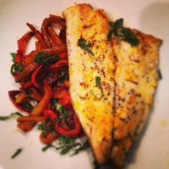 Bream fillet with sweet & sour peppers