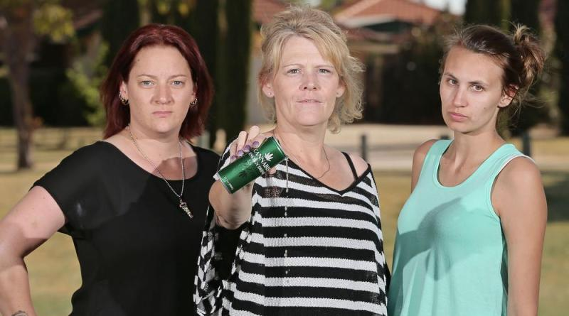 "L-R Jaye Baron, SImone Calnon and Mel Graves are unnhappy about ""Cannabis"" energy drink being sold near the checkout at a huntingdale IGA Picture: Ben Crabtree The West Australian. 11/10/2015"