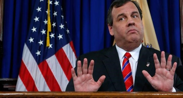 New Jersey Governor Christie reacts to a question during a news conference in Trenton