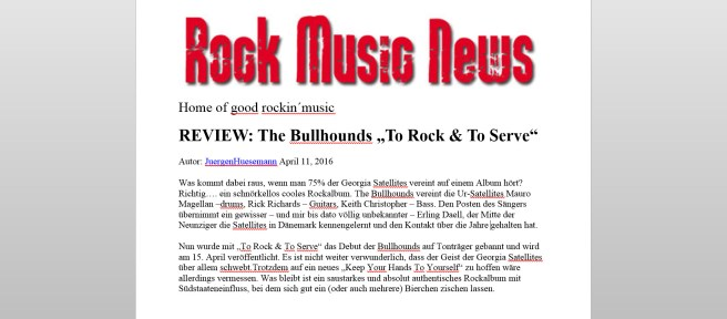 Rock Music News 11-4-2016 Germany