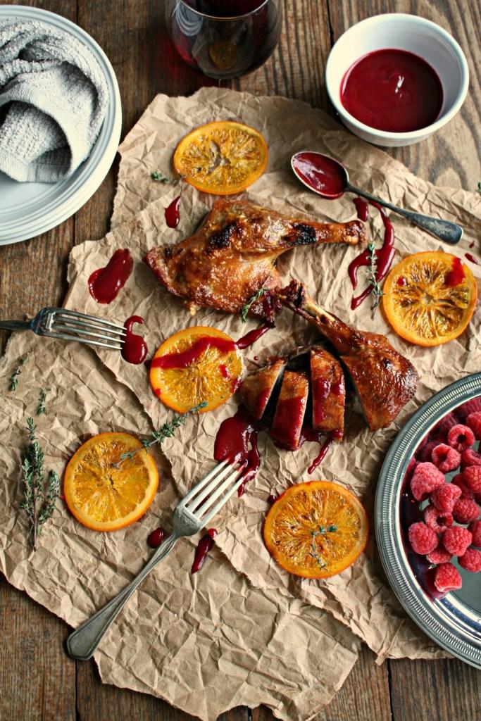 crispy duck with orange raspberry sauce