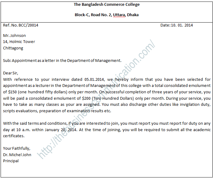 What is appointment letter-Specimen of appointment letter