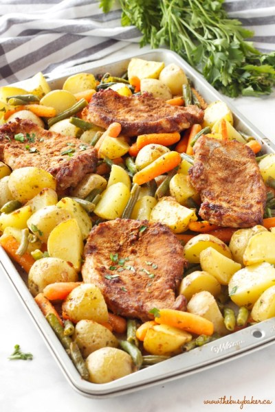 Easy Pork Chop Sheet Pan Dinner {Weeknight Meal} - The Busy Baker