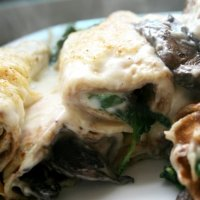 Mushroom and Spinach Pancake Bake