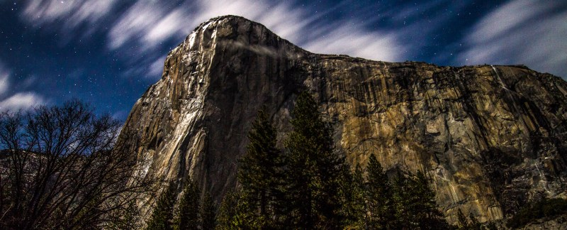 El Capitan With Stars And Clouds Under Moonlight, Yosemite Natio