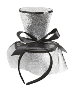 SILVER GLITTER MINI TOP HAT ON HEADBAND WITH BOW & VEIL