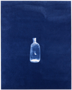 elin o'Hara slavick - Lone Blue Bottle - archival pigment print of a cyanotype of an A-bombed bottle from the Hiroshima Peace Memorial Museum: 2008/2013 - (test print for an edition of 5 + 2 AP) - 8 x 10 750.00