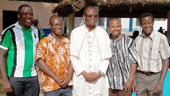 Bishop Alfred Agyenta of the Diocese of Navrongo-Bolgatanga in Ghana poses with Deacons Kevin Abakisi, left, Robert Abotzabire, Peter Akudugu and Albert Wugaa as the four men prepare for ordination to the priesthood.