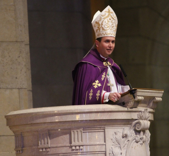 Bishop Andrew Cozzens addresses those attending the prayer service, noting that his own mother, Judy, was advised to have an abortion when she was pregnant with him, due to medical complications.