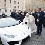 Pope's white Lamborghini up for raffle; winner gets trip to Rome