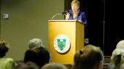 "Dr Marie Hilliard speaks at Lemoyne College Thursday night to discuss ""Infringement on the exercise of conscience in the public square'.  Sun photo 