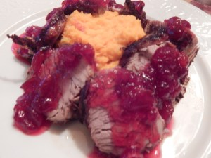 Pork Tenderloin Medallions and Whipped Sweet Potatoes with a Cranberry- Pomegranate Sauce