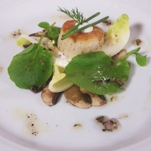 Mushroom Carpaccio with Seared Day Scallop and Truffle Vinaigrette