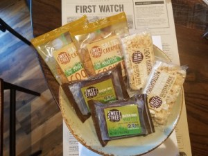 Gluten-free snacks that can be purchased at First Watch