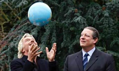 Richard Branson (L) with former US Vice-President Al Gore (R) in London, UK